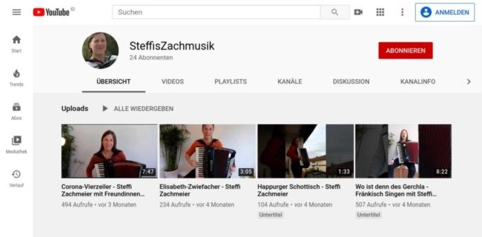 Steffis Zachmusik auf Youtube